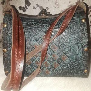 Vintage wood & leather hippie stash purse